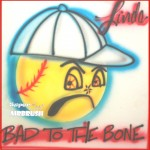 Bad to the Bone Airbrush Softball Desing