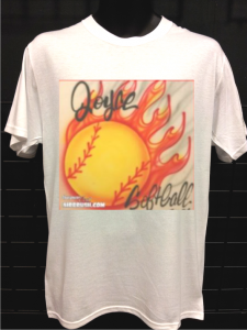 flaming softball airbrush t-shirt