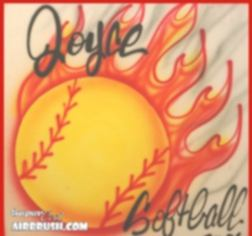 flaming airbrush softball design